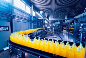 Bottles of Juice on Conveyor Belt