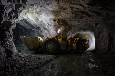 Yellow underground mine loader